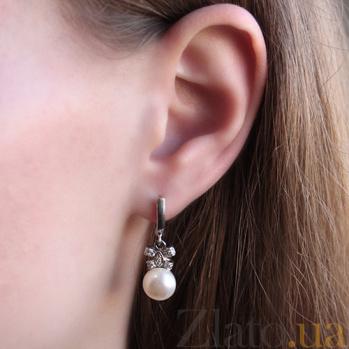 Серебряные серьги Доротея с жемчугом и фианитами 000045534
