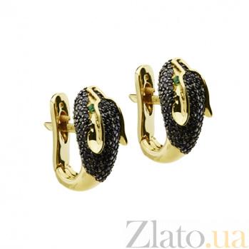 Золотые серьги с черными бриллиантами и изумрудами Пантера KBL--С2290/желт/чбрил/изум