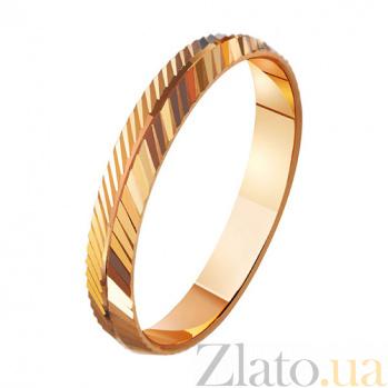Золотое обручальное кольцо Энергия любви с насечкой TRF--411005