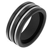 Черное керамическое кольцо Бизнес со вставками белого золота