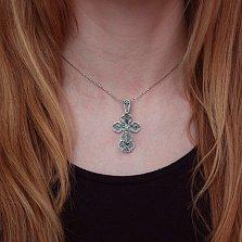 Серебряный крест Двойная защита с распятием на бунтике и Богородицей на тыльной стороне