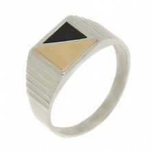 Серебряное кольцо с золотой вставкой Эней