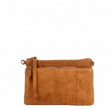Кожаный клатч Genuine Leather 1512 коньячного цвета с накладным карманом