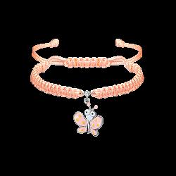 Детский плетеный браслет Розовый мотылек с эмалью и фианитом, 10-20см