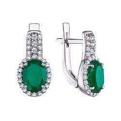 Серебряные серьги Орнелла с зеленым агатом и фианитами
