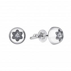 Серебряные серьги-пуссеты Дорити выпуклой округлой формы с белым топазом