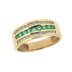 Золотое кольцо в красном цвете с изумрудами и бриллиантами 000021303