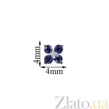 Серьги-пуссеты из белого золота с сапфирами Лидия KBL--С2546/бел/сапф