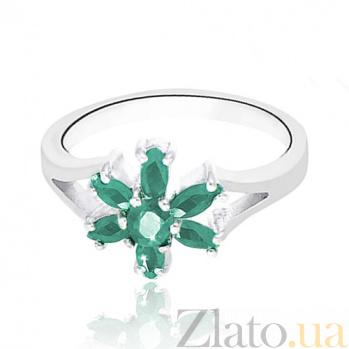 Серебряное кольцо Сильвия с изумрудами 10000158