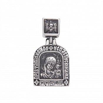 Серебряная ладанка Богородица Казанская с чернением 000068587