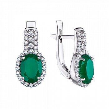 Серебряные серьги с зеленым агатом и фианитами 000064433