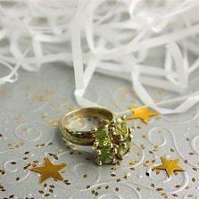 Серебряное позолоченое кольцо Руанда с оливинами (хризолитами) в подвижных кастах