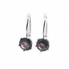 Серебряные серьги Ксантия с раухтопазом