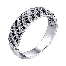 Серебряное кольцо с черными и белыми фианитами 000119291