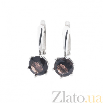 Серебряные серьги Ксантия с раухтопазом 000080218