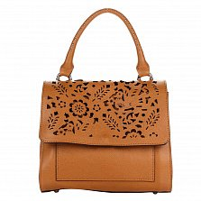 Кожаная деловая сумка Genuine Leather 8915 коньячного цвета с ажурным узором на клапане