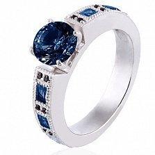 Золотое кольцо в белом цвете Виктория с сапфирами и черными бриллиантами