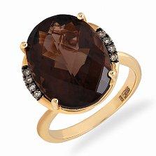 Кольцо в желтом золоте Анна с дымчатым кварцем и бриллиантами