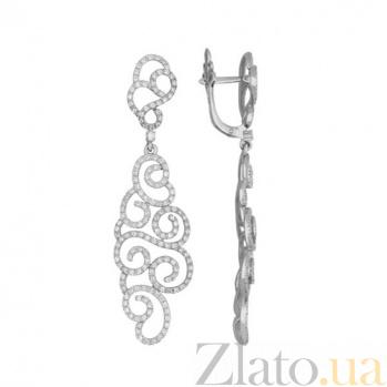Ажурные серьги-подвески из белого золота с фианитами Алишия VLT--ТТТ2503