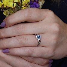 Серебряное кольцо Линара с кварцем цвета танзанит и фианитами