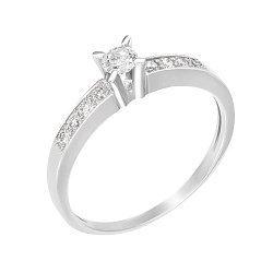 Золотое кольцо в белом цвете с бриллиантами 000117361