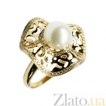 Золотое кольцо с жемчугом и бриллиантами Визуализация 000026950