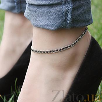 Серебряный браслет на ногу Мирена с чёрным цирконием 000044845