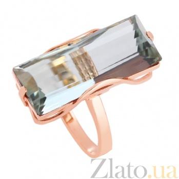 Золотое кольцо с зеленым аметистом Хищница VLN--112-1268-5
