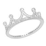 Золотое кольцо с фианитами Корона в белом цвете