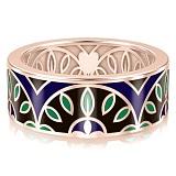 Мужское обручальное кольцо из розового золота с эмалью Талисман: Мира