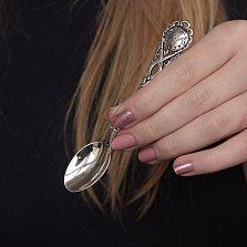 Серебряная чайная ложка Часики на рождение ребенка