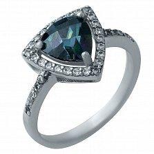 Серебряное кольцо Рианна с мистик топазом и фианитами