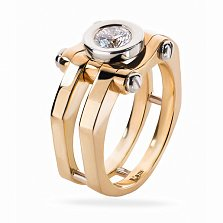 Золотое кольцо Статик с бриллиантом в стиле стимпанк