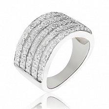 Серебряное кольцо Грация с дорожками белых кристаллов Swarovski