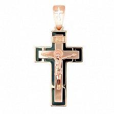 Золотой крестик с черной эмалью Спаси и Сохрани