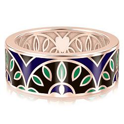 Мужское обручальное кольцо из розового золота с эмалью Талисман: Мира 000009965