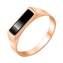 Перстень-печатка из красного золота с черным ониксом 000117646