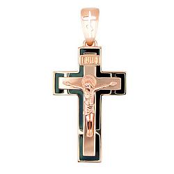 Золотой крестик с черной эмалью Спаси и Сохрани 000012209