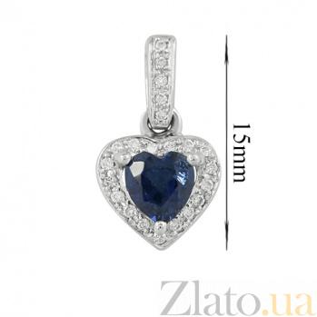 Золотой подвес с сапфиром и бриллиантами Сердце 000026756