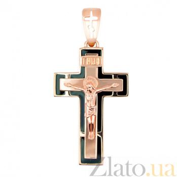 Золотой крестик с черной эмалью Спаси и Сохрани VLT--КЭ3М348