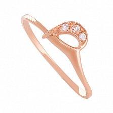 Золотое кольцо Меган с фианитами
