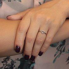 Золотое кольцо I love you с шинкой в форме сердца в белом цвете