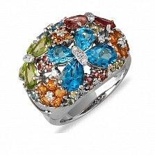 Кольцо из белого золота Яркое лето с голубым топазом, турмалином, хризолитом и бриллиантами