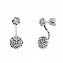 Серебряные серьги-джекеты Анетье с белыми фианитами