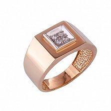 Золотое кольцо-печатка с фианитами Феоб