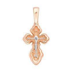 Православный крестик в комбинированном цвете золота 000130853