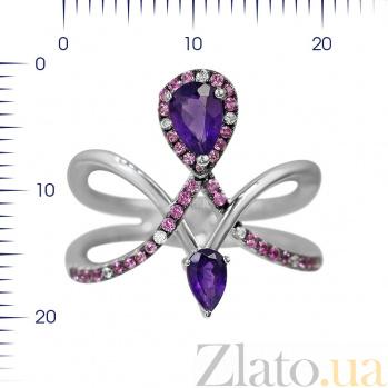 Серебряное кольцо Гвендолин с аметистом, фиолетовыми и белыми фианитами 000081640