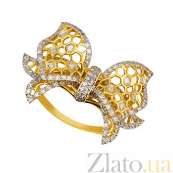 Кольцо из желтого и белого золота Бантик с фианитами VLT--ТТ1087-1