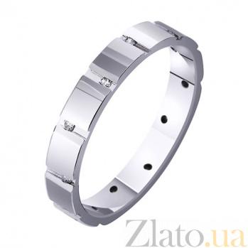 Обручальное кольцо из белого золота Геометрический стиль с фианитами TRF--4221349