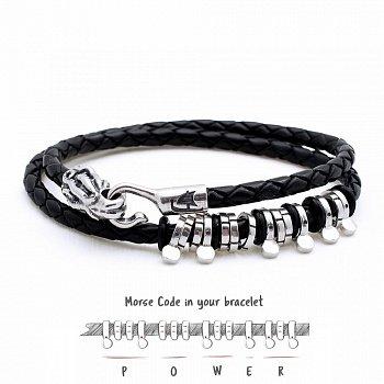 Двойной кожаный браслет Kraken Power с серебром 000122408